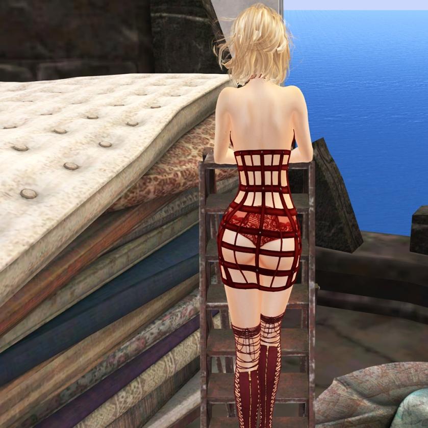 Oubliette- Crimson Page Satin Cage Dress ..
