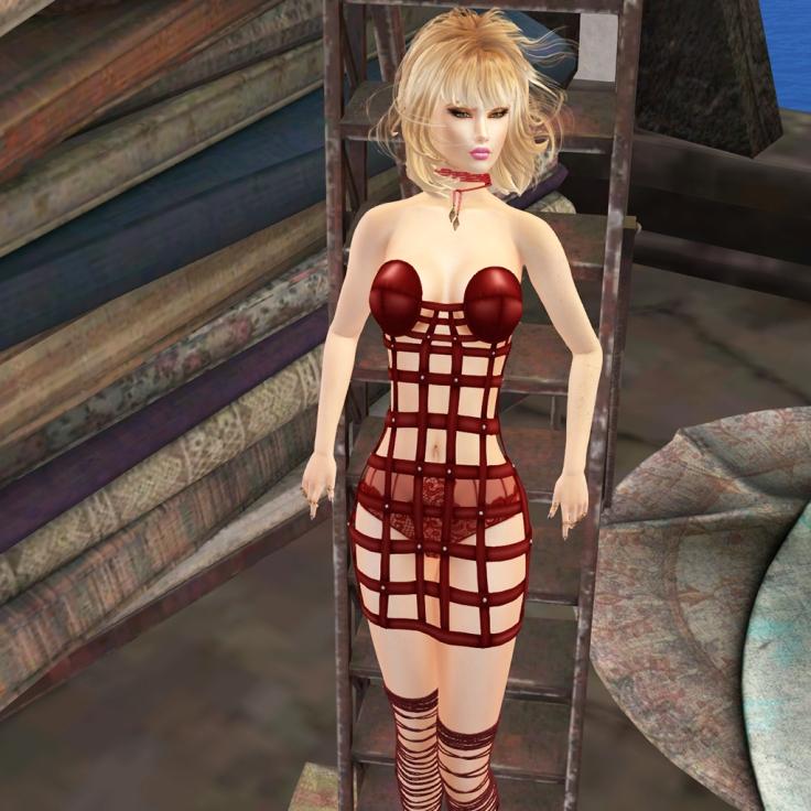 Oubliette- Crimson Page Satin Cage Dress .